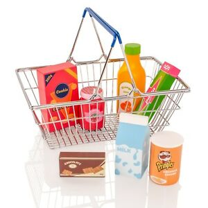Childrens Supermarket Shopping Basket Wooden Pretend Play-Food Groceries Toy Set
