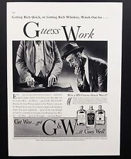 1937 Vintage Print Ad | 30's G&W Whiskey Alcohol Shell Game Con Image
