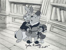 WINNIE THE POOH B&W PRODUCTION CEL, DRAWING, AND B/G LAYOUT. JOHN FIEDLER SIGNED
