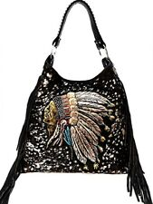 Raviani Western Indian Chief Bag In Black Leather W/ Fringe Made In USA