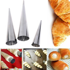 12pcs Conical Tubes Croissants Cone Horn Spiral Steel Roll Cream Bread Mol'UK