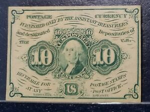 10 Cent First Issue Fractional Currency PCGS AU50 Fr.1242 About New 10c 1st