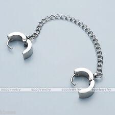 Men Women Steel Double Hoop Huggie Slave Chain Chain Earrings Ear Cuff Stud Punk