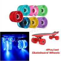 4Pcs LED Skateboard Wheels 60x45mm Cruiser Longboard Glow Lights Magnetic Power
