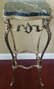 Victorian Solid Brass Ornate Marble Top Plant Flower Stand Side Table GORGEOUS