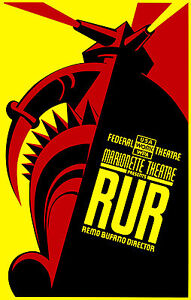 Old Vintage Theatre Poster RUR - Fade Resistant HD Print or Canvas