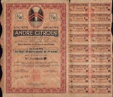 ANDRE CITROEN Paris France 1937 sign. P Michelin AUTOMOBILE CAR MAKERS DS 2CV