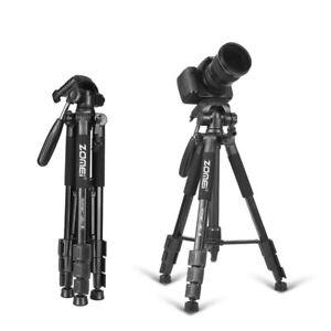 Soporte aluminio portátil para trípode cámara viaje con cabeza sartén negro