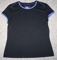 Tek Gear Black Blue Crewneck Tee T-Shirt Top Solid Polyester Nylon Size Medium