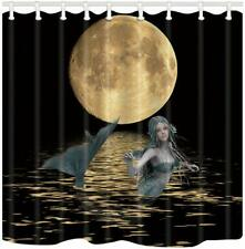 Moon Mermaid Dark Fantasy Magical Water-Repellent Fabric Shower Curtain + Hooks