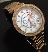 Ladies Michael Kors Designer Watch PARKER MK5491 Chronograph Rose Gold Genuine
