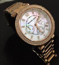 Reloj de mujer de diseñador Michael Kors Parker MK5491 Cronógrafo Rosa Oro Genuino