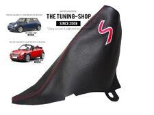 """Per Mini Cooper S-One R50 R53 01-06 Cuffia Freno A Mano Pele """"S"""" Rosso Ricamo"""