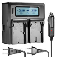 Neewer Dual LCD Battery Car AC Charger for 2 Canon LP-E6 Batteries for 7D 6D 5D