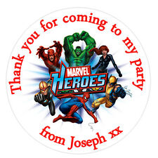 35 x Personalised Marvel inspired round Labels Stickers Party bag cones birthday