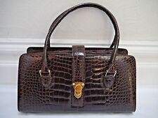 NEW MANOLO BLAHNIK dark brown alligator crocodile skin large handbag