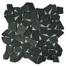 "Glazed Black Mosaic Tile 12"" x 12"" - River Rock Stone Tile"