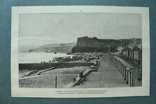 L1e) Holzstich Dawlish South Devon 1885 Eisenbahn Zug Catastrophe Beach 26x17cm