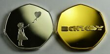 Pair BANKSY Commemoratives. Albums/Collectors. Silver & 24ct Gold. Balloon Girl