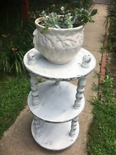 Country Cottage three Tier Shabby White Round Large Wood  Plant Stand Side Table