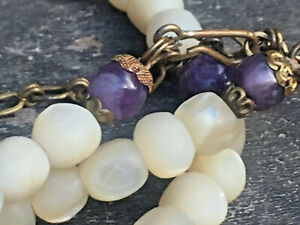 VINTAGE MOTHER OF PEARL AND AMETHYST BEAD NECKLACE