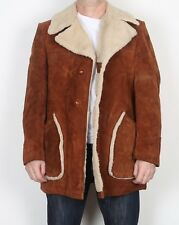 "Suede sherpa Fleece lined Coat Jacket Medium 40"" Brown 70's Vintage (JDE)"