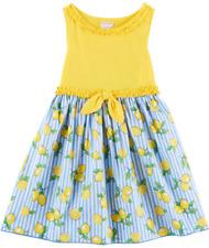 "NEW Youngland Girls ""YELLOW & BLUE LEMON"" Size 8 Tee Knit to Poplin Dress NWT"