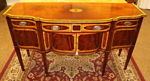 Stunning Mahogany & Satinwood Banded Sideboard Server Buffet By Millender