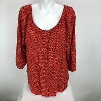 St John's Bay Womens Plus Size 3/4 Sleeve Boat Neck Button Up Blouse Sz 1X Red