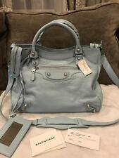 Balenciaga Velo 282010 Giant 12 Silver Agneau Crossbody Bag Bleu Dragee $1985