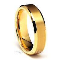 Tungsten Carbide Mens Wedding Band 24k Gold IP Ring Brushed Center Beveled Edge