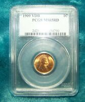 1909 VDB 1C Red Lincoln Cent Uncirculated Coin PCGS Graded & Certified MS65RD