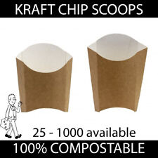 More details for brown kraft chip scoops food takeaway containers compostable disposable strong