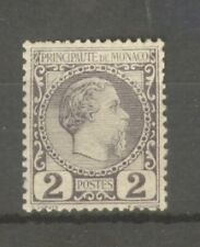"MONACO STAMP TIMBRE N° 2 "" PRINCE CHARLES III 2c VIOLET-GRIS "" NEUF xx SUP"