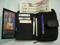 Ladies Leather Purse Wallet Black With Many Features RFID Protected