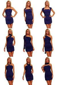 Womens Bodycon Summer Sexy Evening Party Mini Dress size 8-14 Multi Way