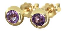 Ohrstecker Gold 585 mit Amethyst runde Goldohrstecker Amethyststecker Ohrringe