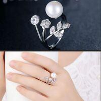 Schmuck Offene Finger-Ring Einstellbar Blütenblätter Perle AAA Zirkon