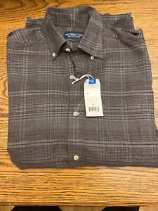 Men's Small SOUTHERN TIDE Brown Plaid Long Sleeve Shirt New $110