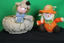 Decorative Collectible Scarecrow Basket And Lighted Orange Rubber and Cloth