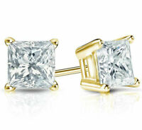 1/2Ct Diamond Stud Earrings Princess Cut Solitaire Earrings 14K Yellow Gold Over
