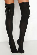 Black Ladies Over The Knee Hold Up Stockings Socks Thigh High With Lace & Bows