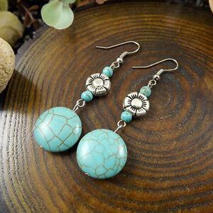 Cute New Tibetan Silver Turquoise Round & Flower Bead Hook Dangle Drop Earrings