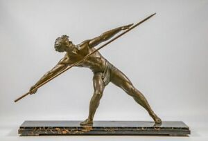 "XL 31.4"" ART DECO Spelter bronze marble base spear thrower statue 1930"