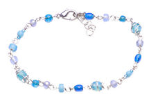 NEW FASHION TREND BOHO STYLE MIX BLUE BEADS BRACELET ON SILVER WIRE CHAIN(ZX49)