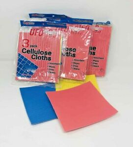 12Pc Cellulose Cloths Super Absorbent Sponge Cleaning Wipes Towel Reusable