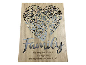 40cm Tree of Life & Heart Mirror Wall Art with Family Message Inspirational Wood