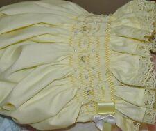 Girls Smocked Baby Bonnet, Yellow Bonnet Cap Hat