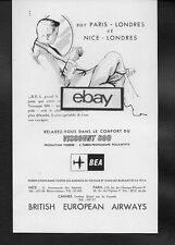 BEA BRITISH EUROPEAN AIRWAYS 1958 LONDRES-PARIS & NICE VISCOUNT 800 FRENCH AD