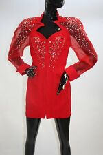 1980s Red Dynasty style rhinestone and studs mini dress